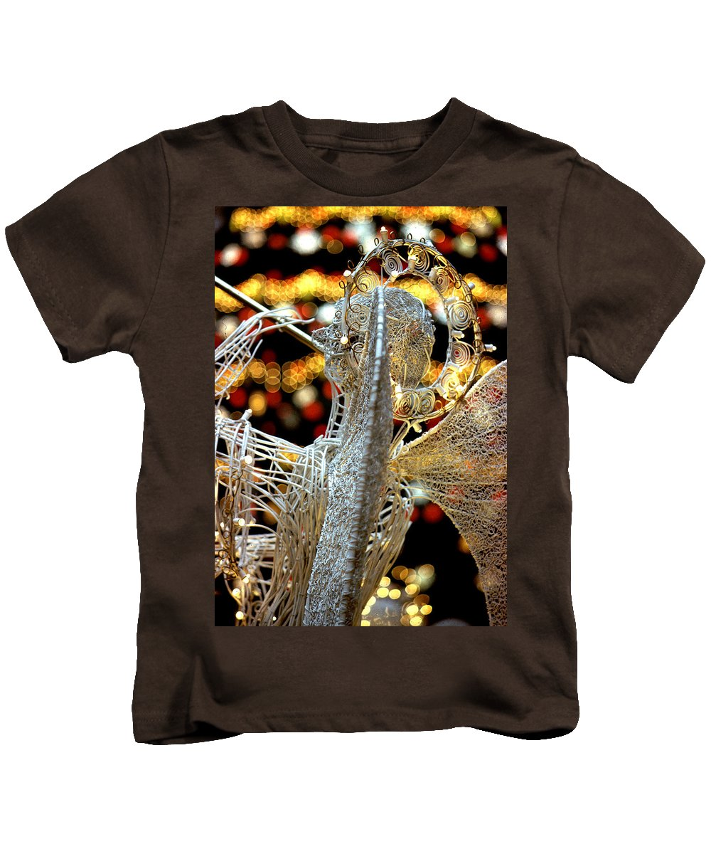 Trumpeting Angel Kids T-Shirt featuring the photograph Trumpeting Angel by Steve Archbold