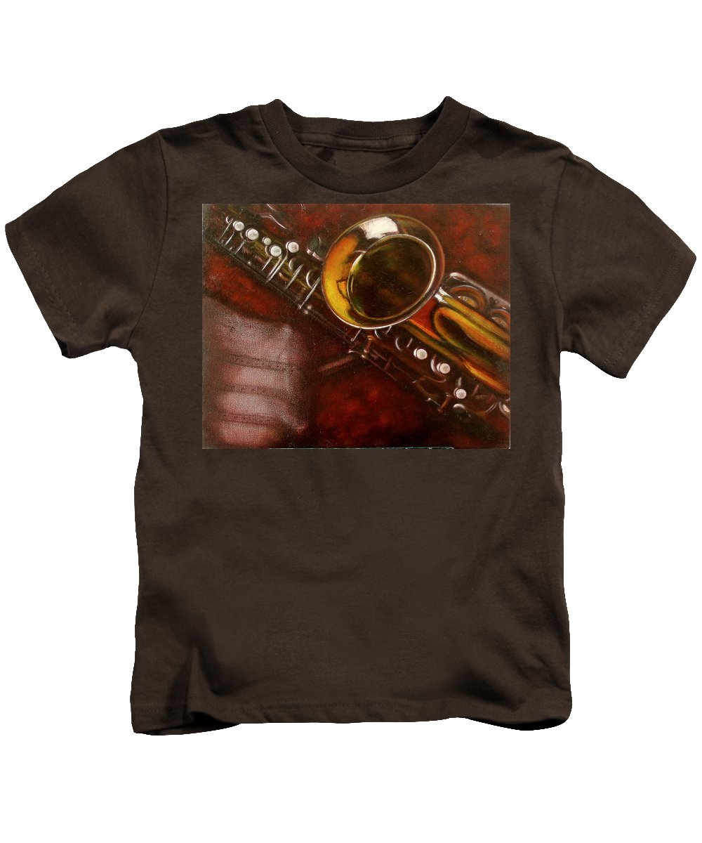 Still Life Kids T-Shirt featuring the painting Unprotected Sax by Sean Connolly