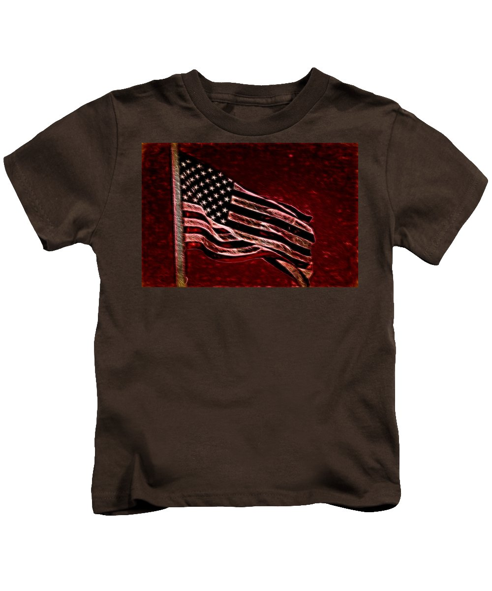 Flag Kids T-Shirt featuring the digital art Us Flag by Cathy Anderson