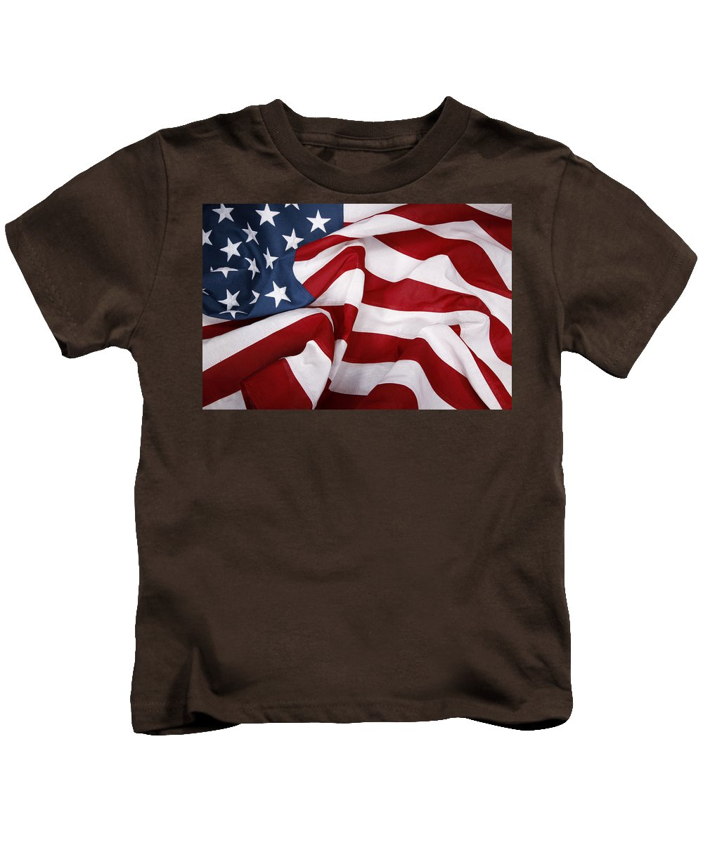 American Flag Kids T-Shirt featuring the photograph U.s. Flag by Les Cunliffe