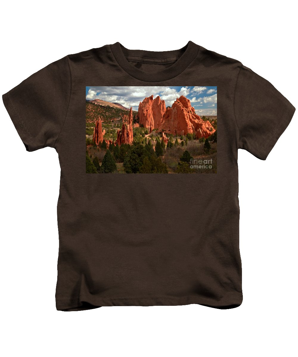 Sunrise At Garden Of The Gods Kids T-Shirt featuring the photograph Valley In The Sun by Adam Jewell