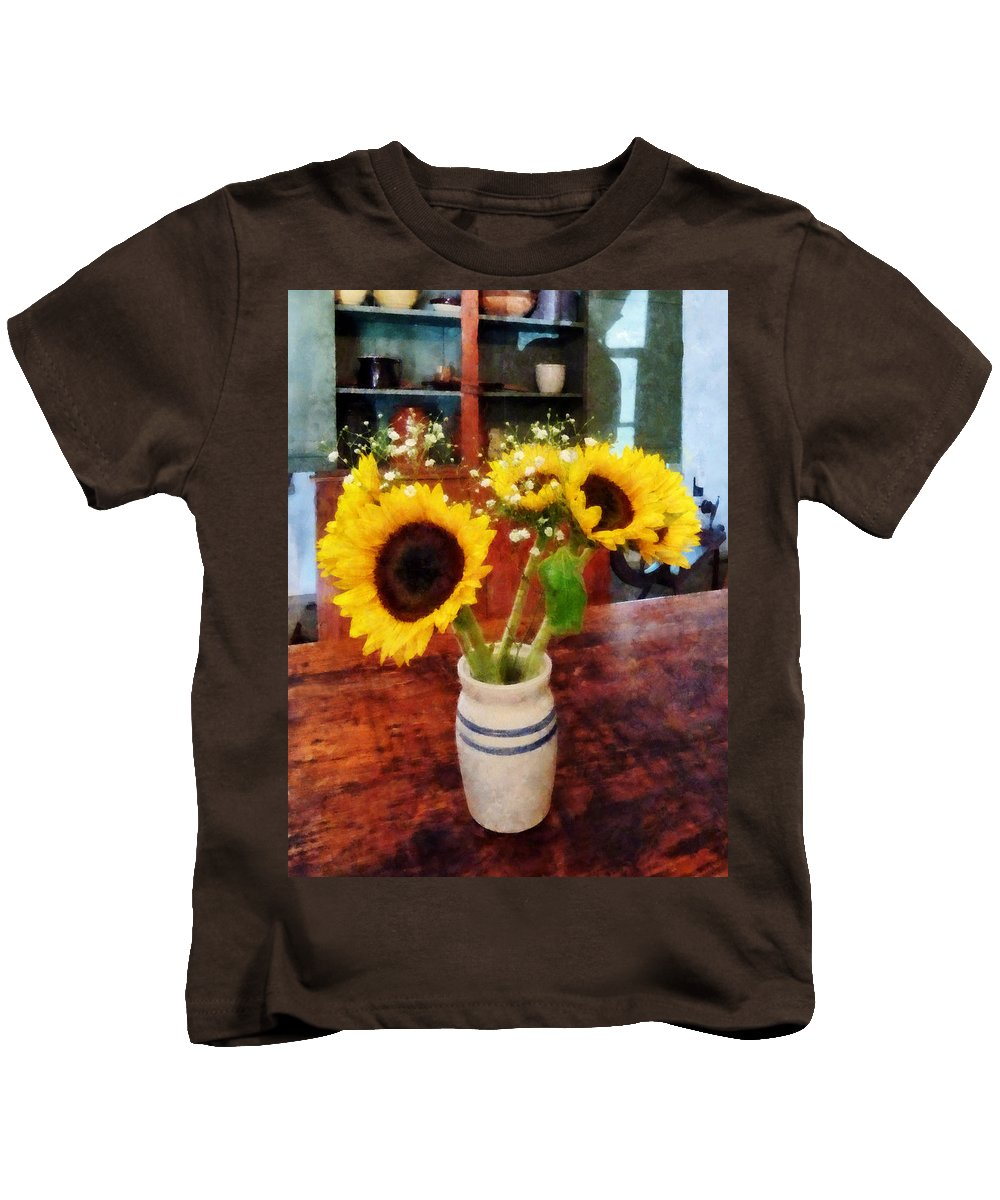 Sunflower Kids T-Shirt featuring the photograph Vase Of Sunflowers by Susan Savad