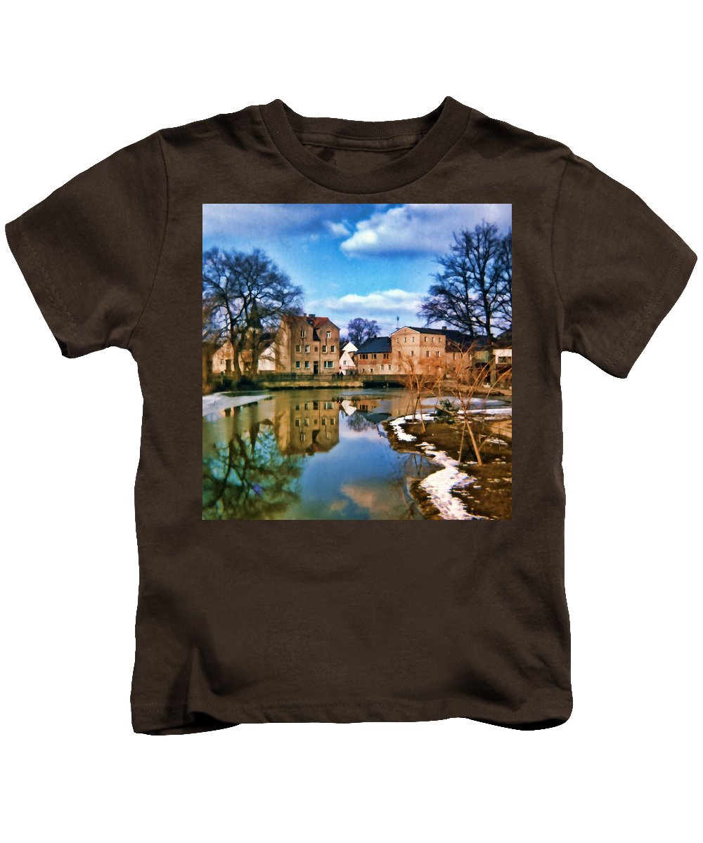 Village Kids T-Shirt featuring the photograph Village Reflections by Cathy Anderson