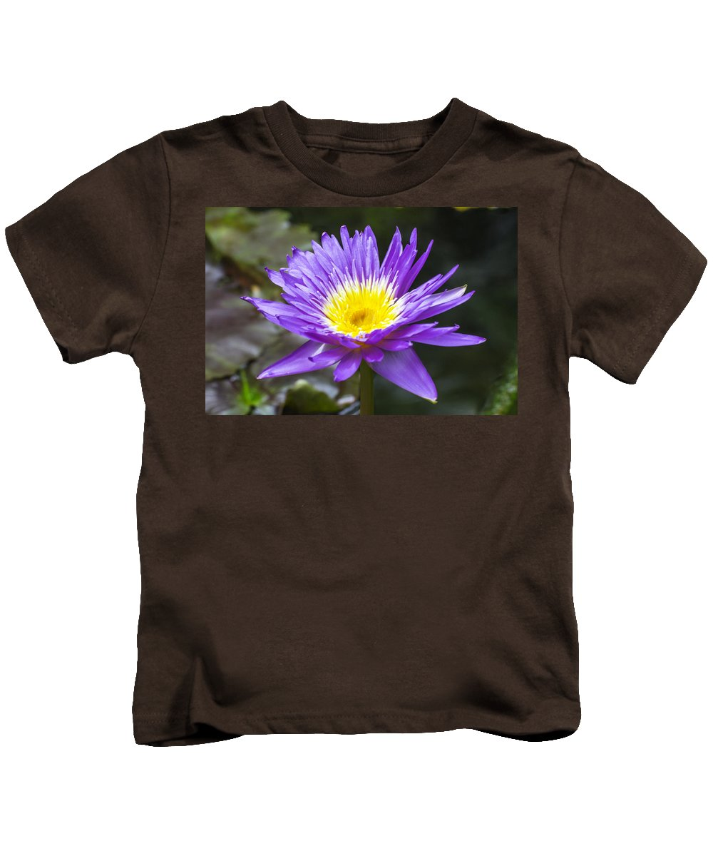 Flower Kids T-Shirt featuring the photograph Violet Water Lily by Gene Norris