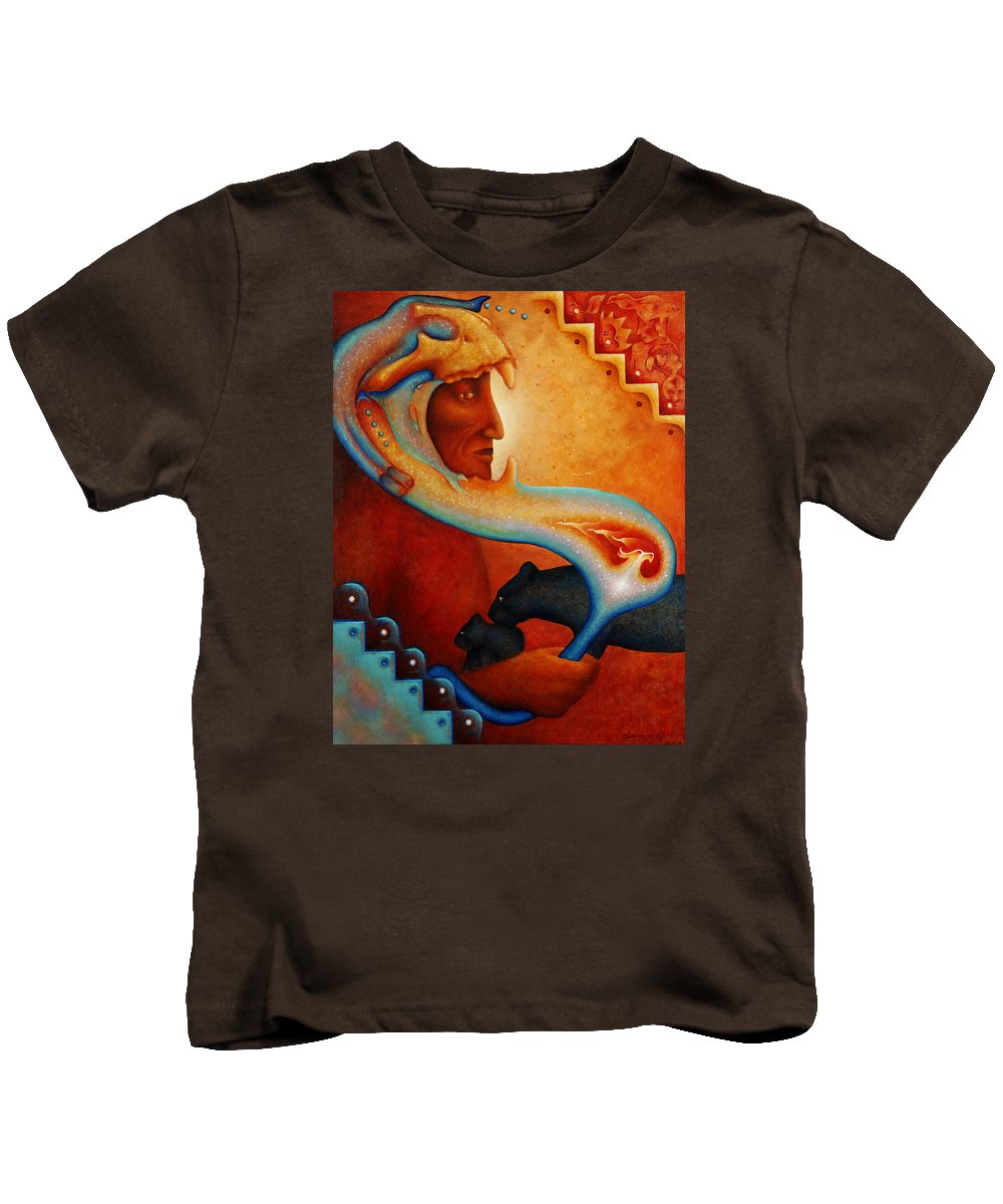 Native American Kids T-Shirt featuring the painting Visions Of A New Earth by Kevin Chasing Wolf Hutchins