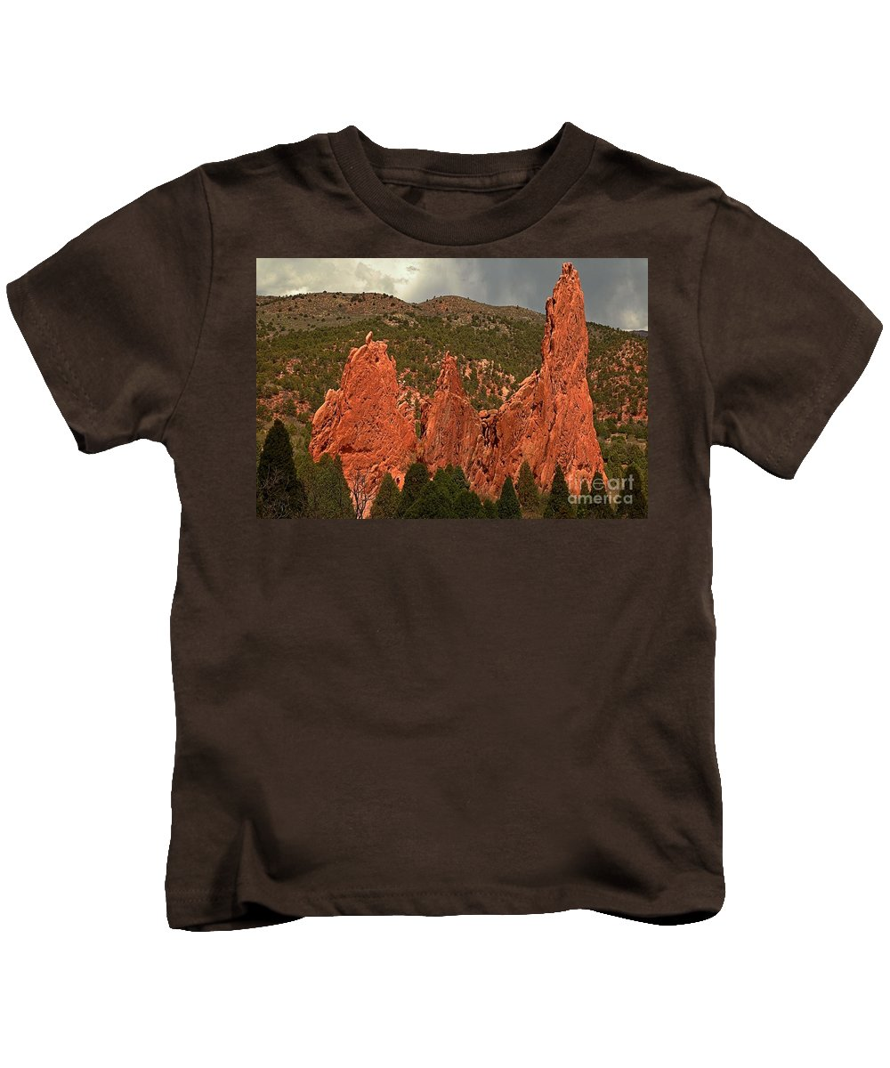 Sunrise At Garden Of The Gods Kids T-Shirt featuring the photograph Wall Of The Gods by Adam Jewell
