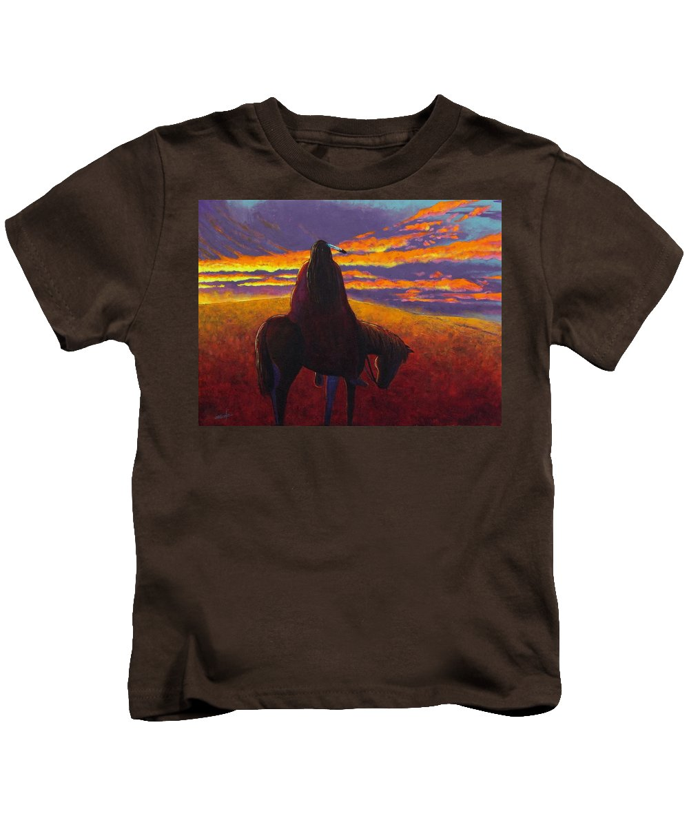 Native American Indian Kids T-Shirt featuring the painting Watching The Magic by Joe Triano