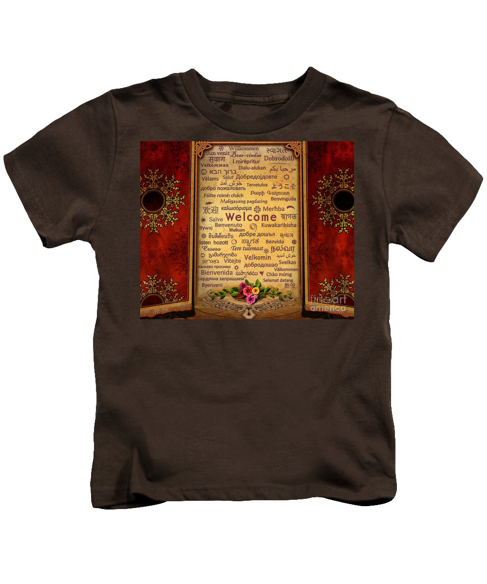 Welcome Kids T-Shirt featuring the digital art Welcome by Peter Awax
