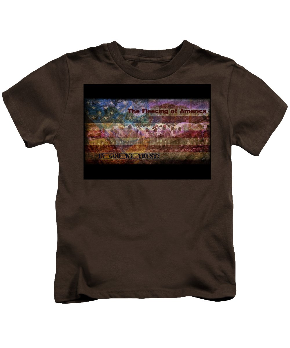 Pigs Kids T-Shirt featuring the digital art Welcome To The New America by Absinthe Art By Michelle LeAnn Scott