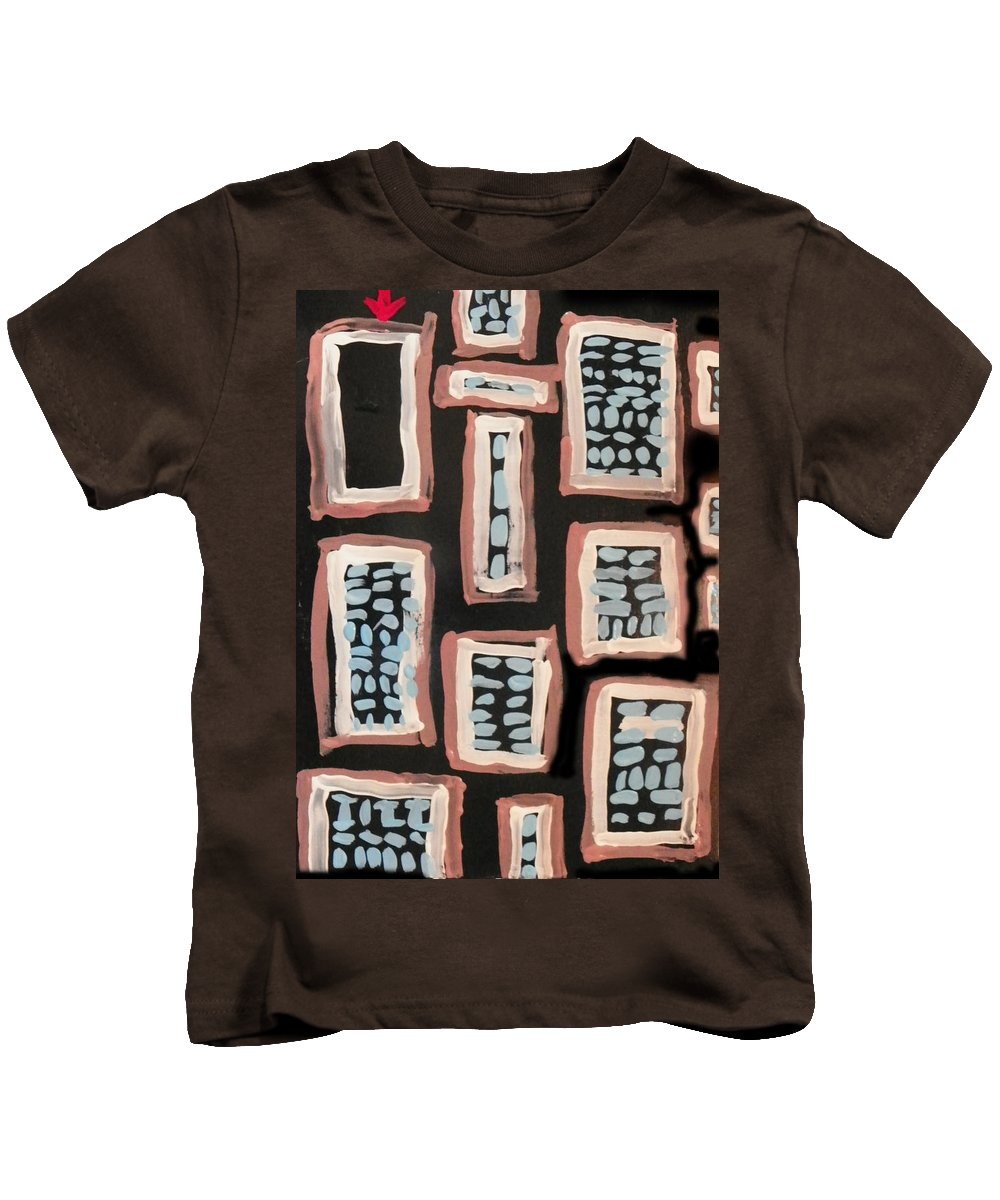 Abstract Kids T-Shirt featuring the painting Where Some Of The Bodies Are Hidden by Lenore Senior