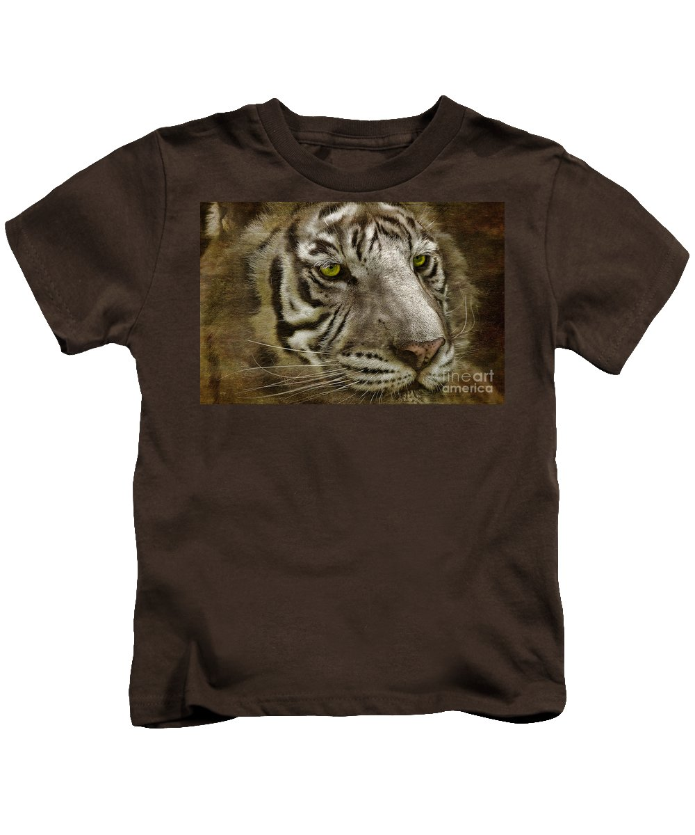 Tiger Kids T-Shirt featuring the photograph White Bengal by Lois Bryan