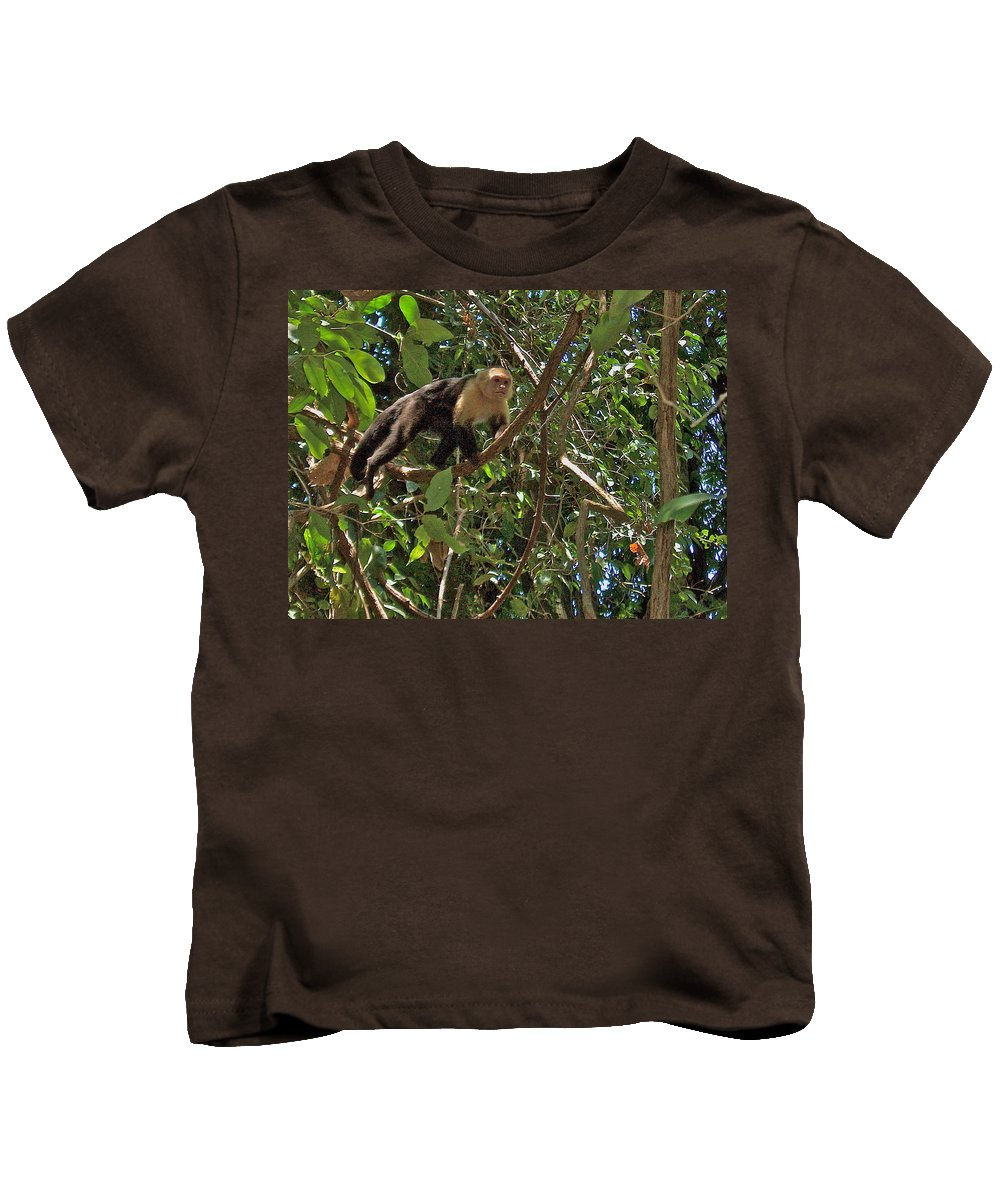 White-faced Capuchin Monkey In Manuel Antonio National Preserve In Costa Rica Kids T-Shirt featuring the photograph White-faced Capuchin Monkey In Manuel Antonio National Preserve-costa Rica by Ruth Hager
