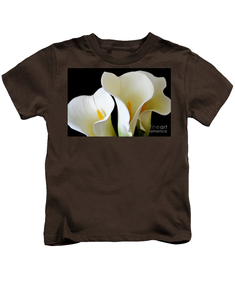 Calla Lily Kids T-Shirt featuring the photograph White Lily Trio by Mary Deal