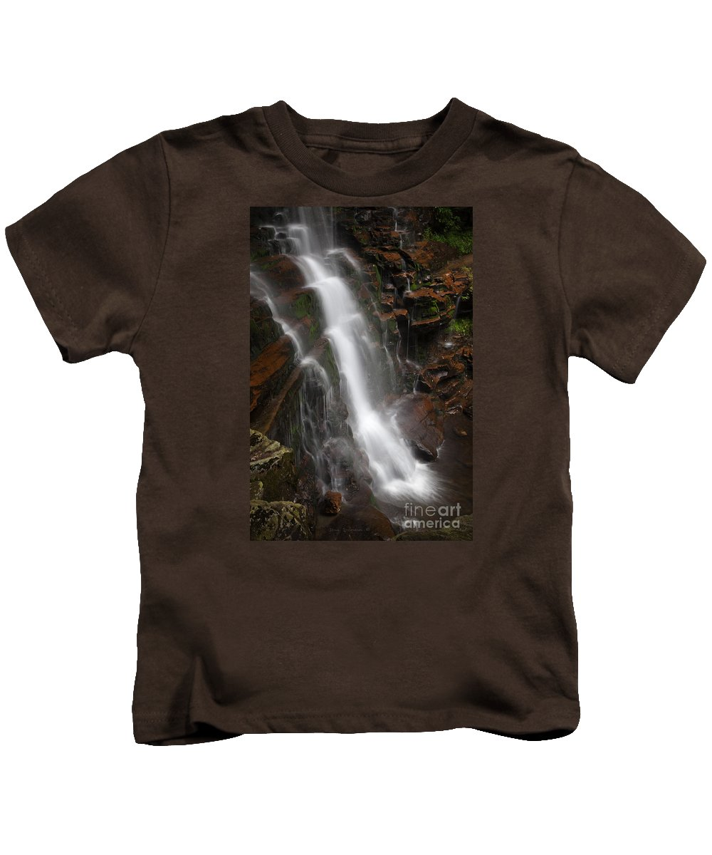 Waterfall Kids T-Shirt featuring the photograph Wilderness Waterfall Dawn by John Stephens
