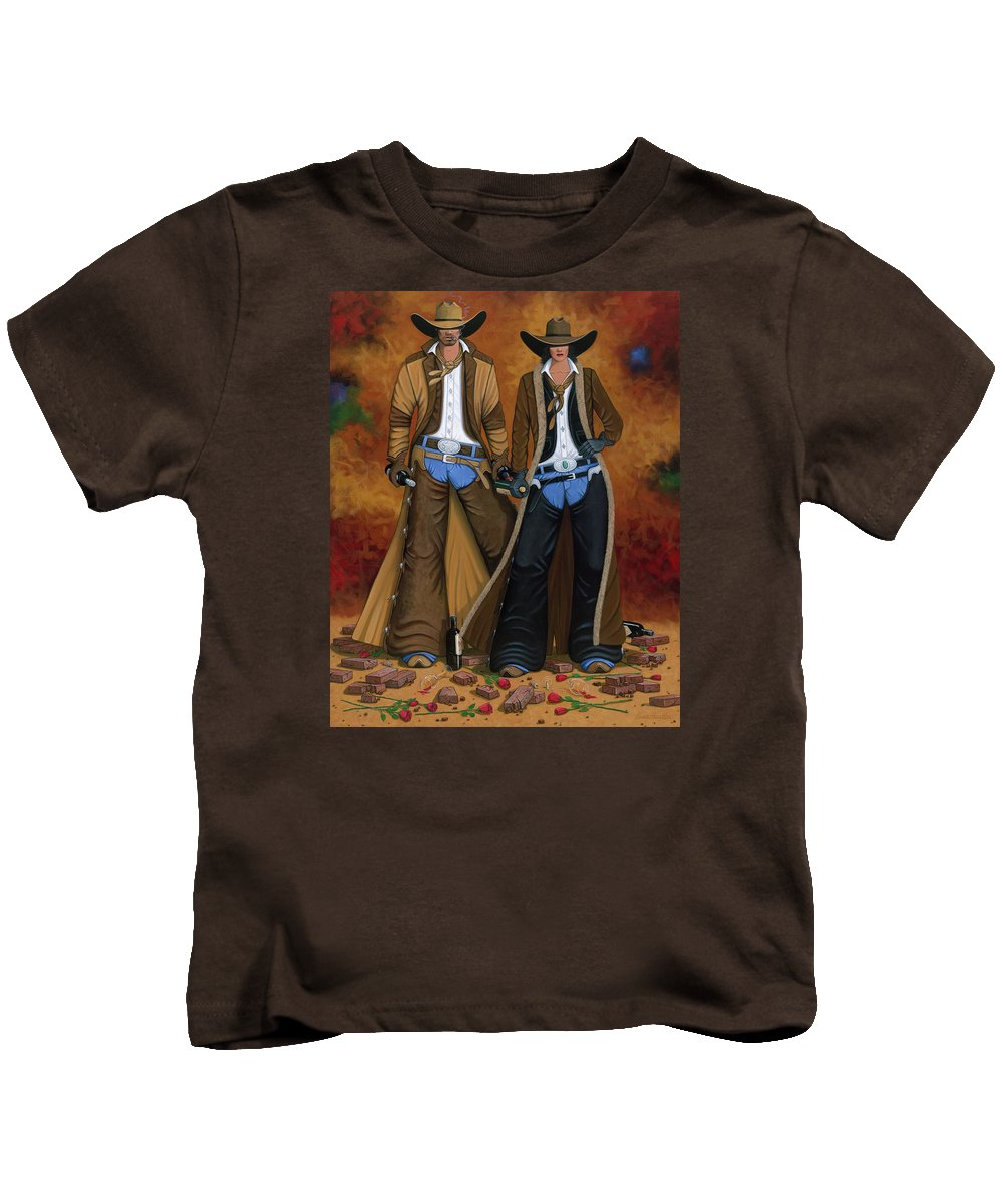Cowgirl Kids T-Shirt featuring the painting Wine And Roses by Lance Headlee
