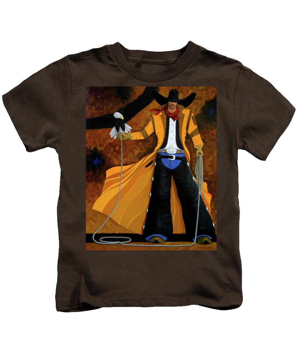 Original Cowboy American Kids T-Shirt featuring the painting Wings Of The West by Lance Headlee