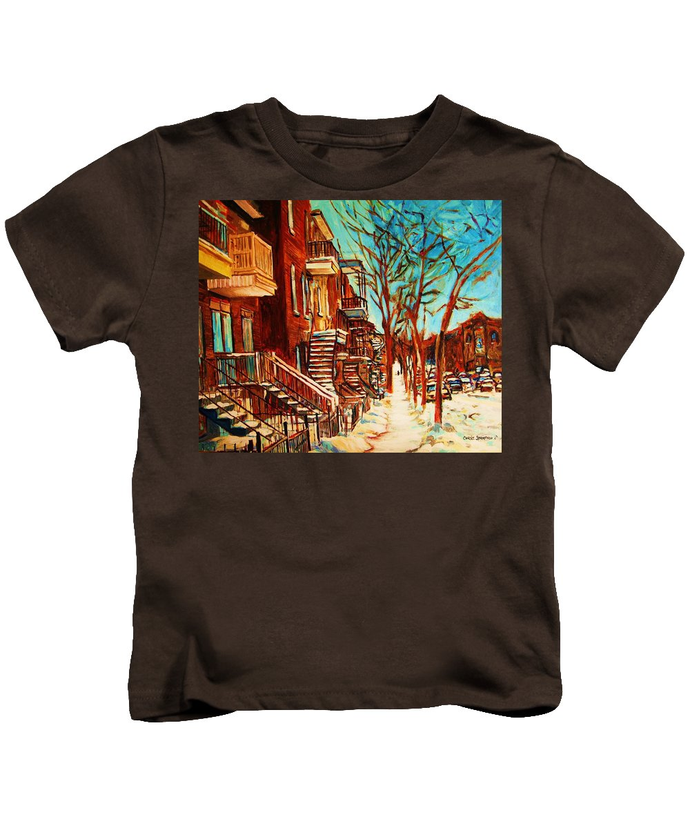 Verdun Paintings By Montreal Street Scene Artist Carole Spandau Kids T-Shirt featuring the painting Winter Staircase by Carole Spandau