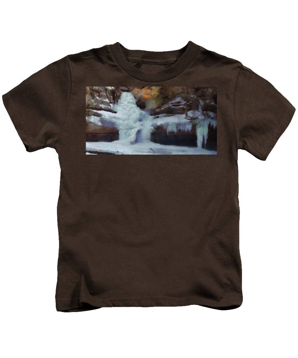 Winter Waterfalls Kids T-Shirt featuring the painting Winter Waterfalls by Dan Sproul