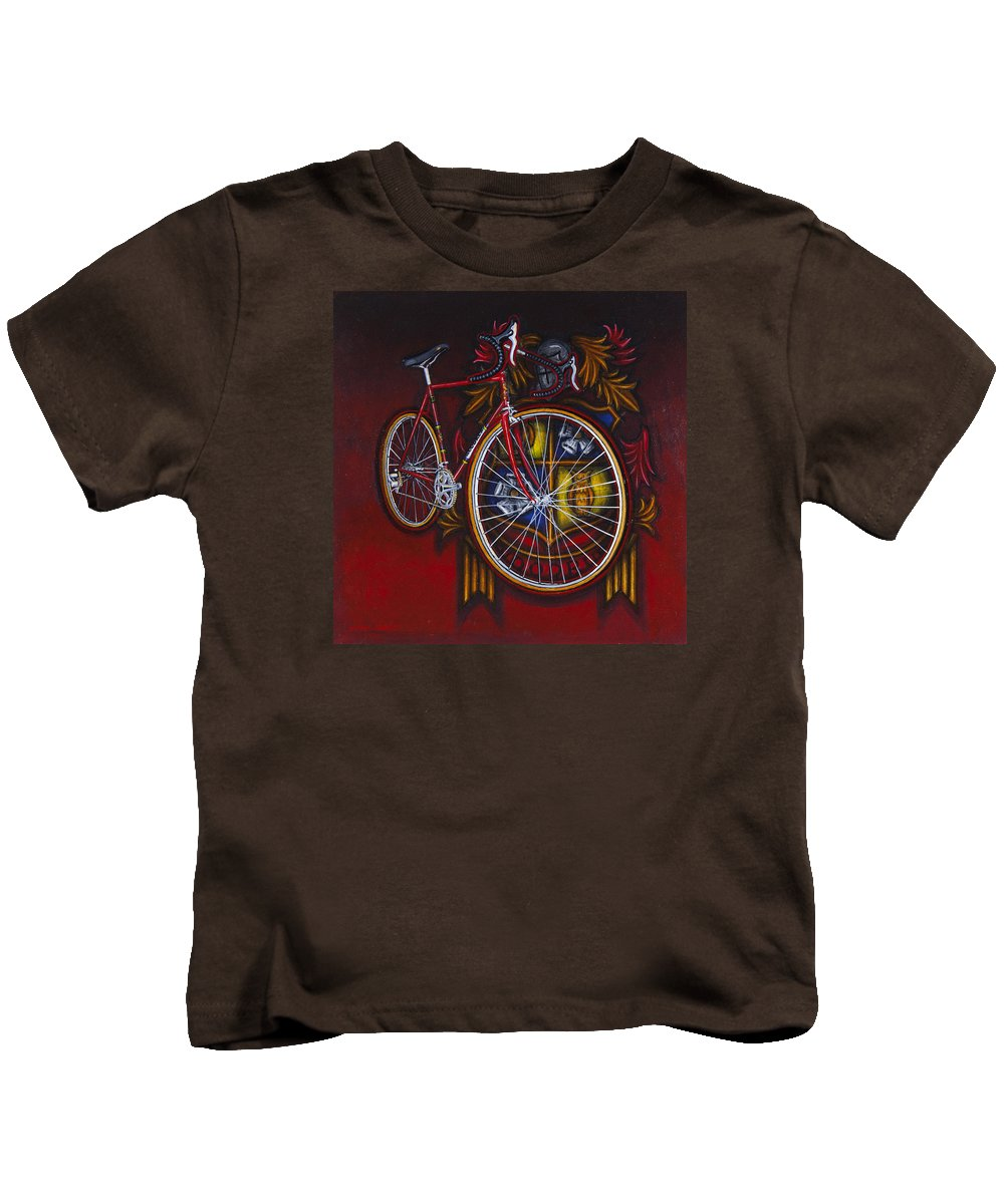 Bicycle Kids T-Shirt featuring the painting Woodrup Team 75 by Mark Jones