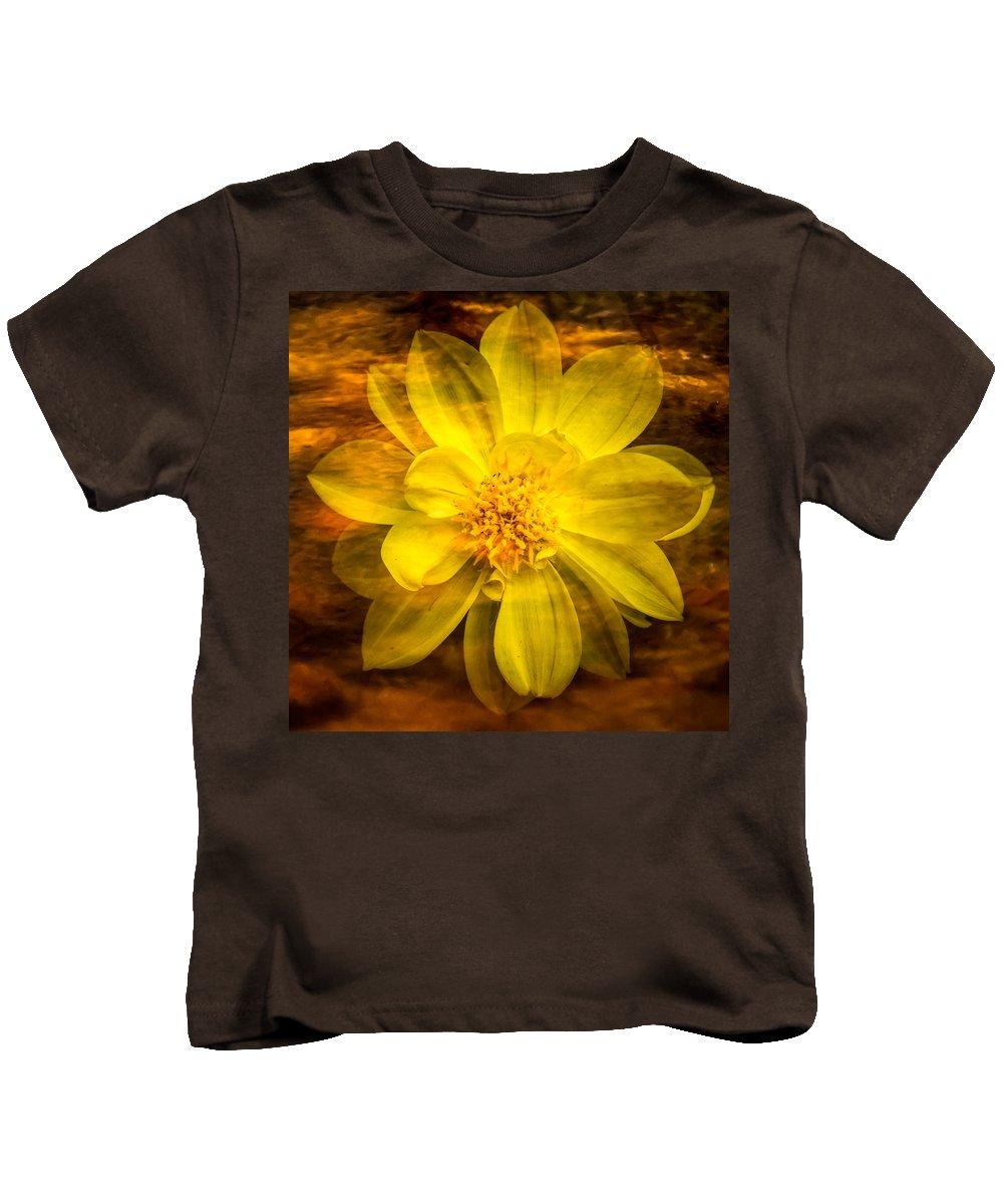 Claude Monet Kids T-Shirt featuring the photograph Yellow Dahlia Under Water by Onyonet Photo Studios