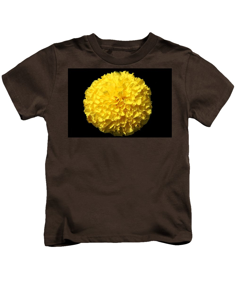 Yellow Marigold Kids T-Shirt featuring the photograph Yellow Marigold by Dan Sproul