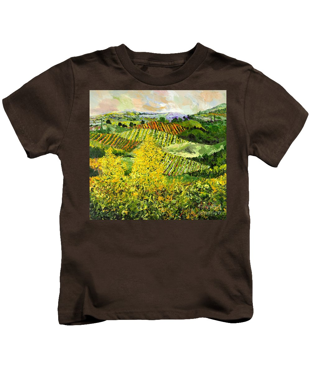 Landscape Kids T-Shirt featuring the painting Yellow Trees by Allan P Friedlander