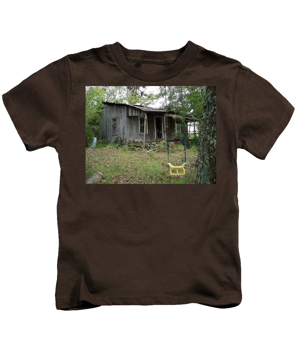 Old Rustic Cabin Kids T-Shirt featuring the photograph Young And The Old by Richard Rosenshein
