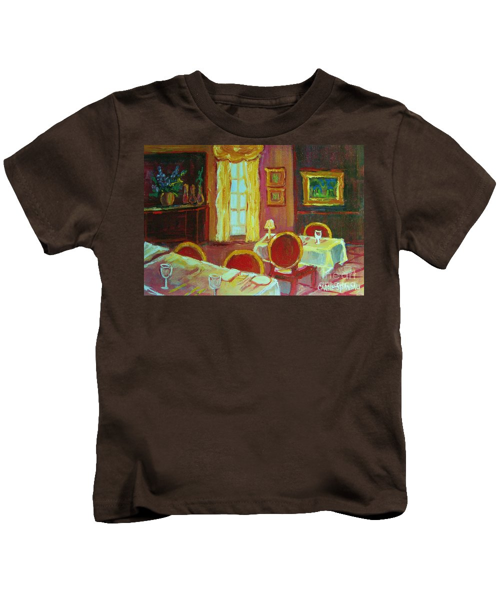 Interior Kids T-Shirt featuring the painting Your Table Awaits by Carole Spandau