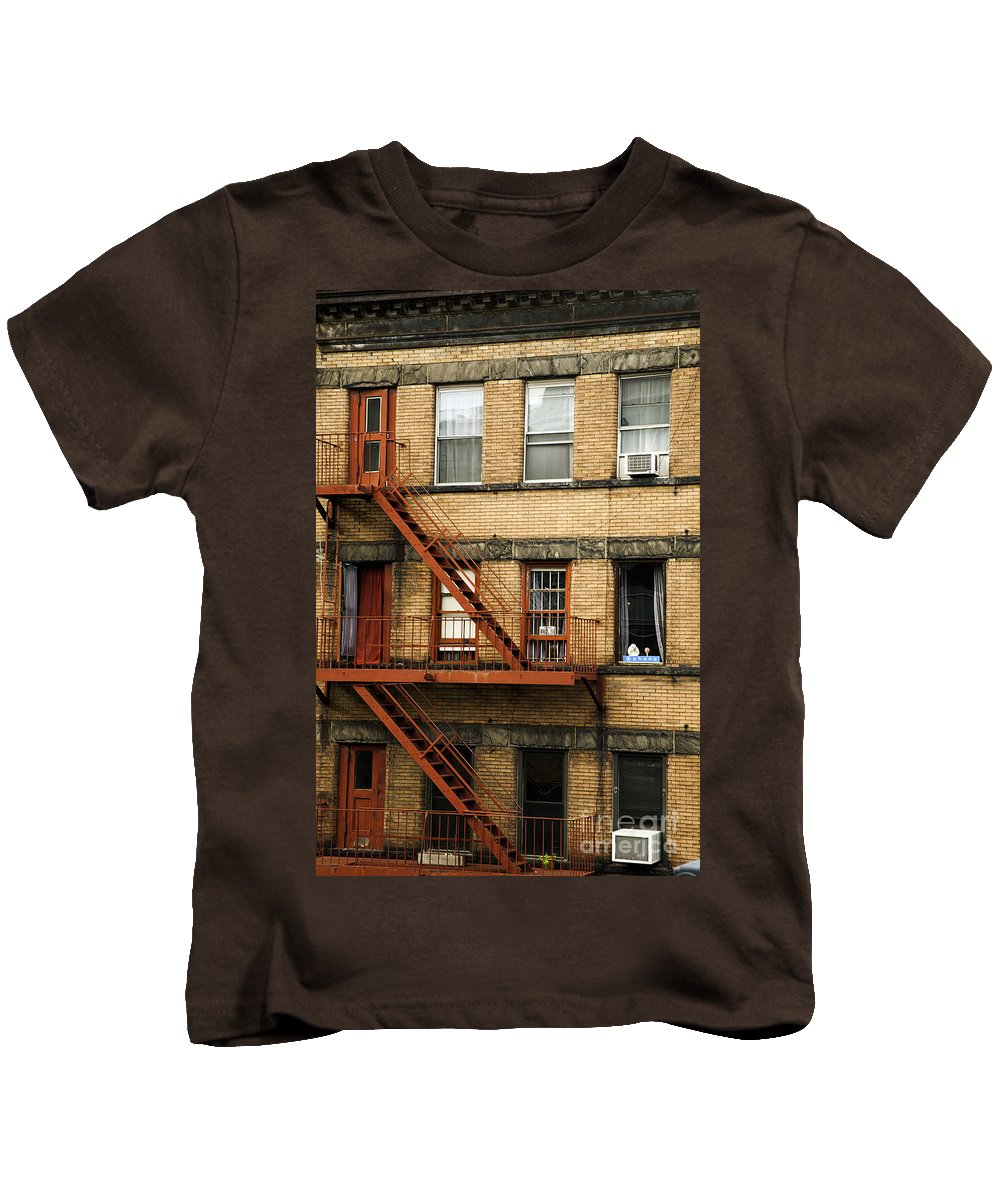 Fire Escapes Kids T-Shirt featuring the photograph Fire Escapes - Nyc by Madeline Ellis