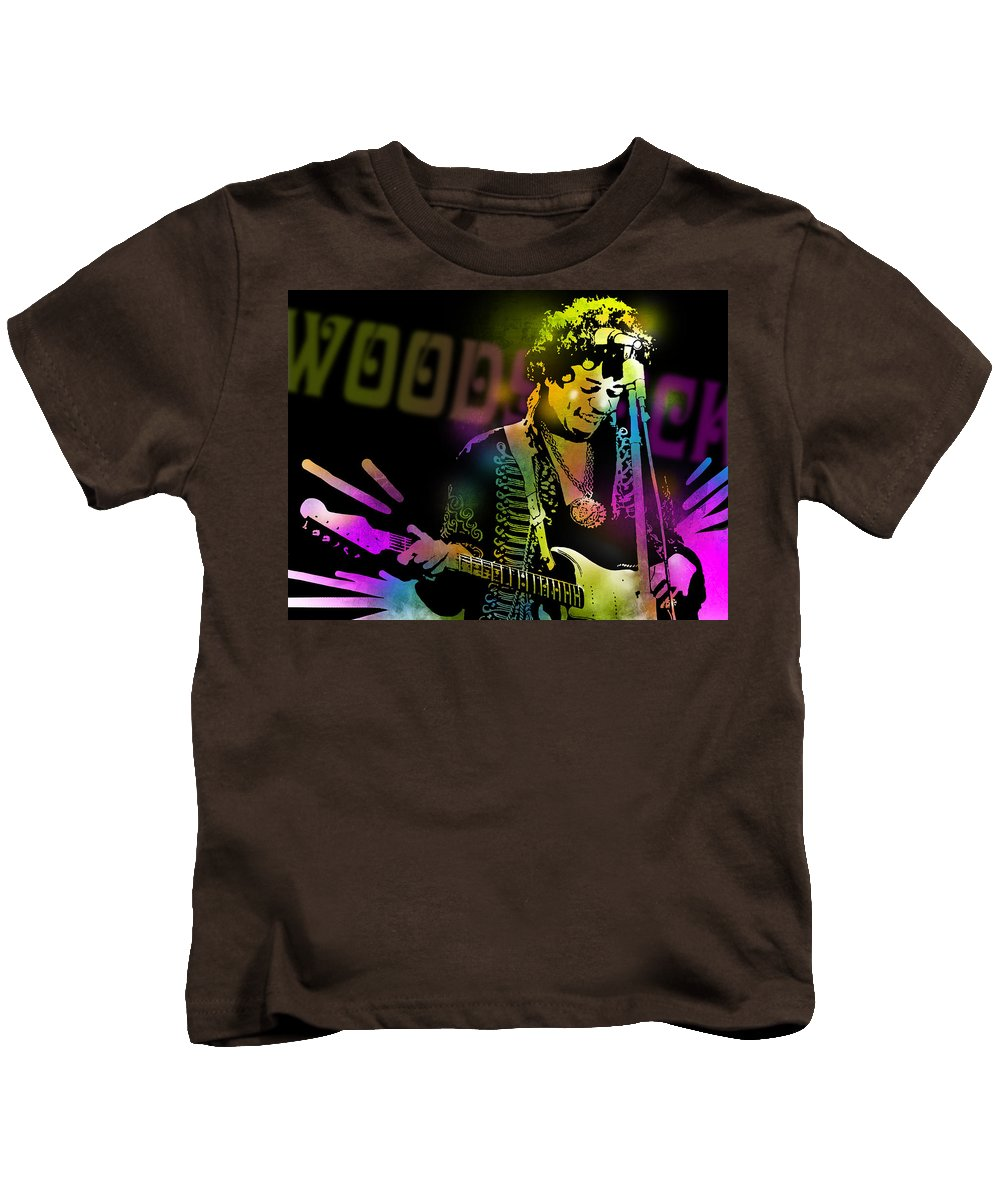 Blues Kids T-Shirt featuring the painting Jimi Hendrix by Paul Sachtleben