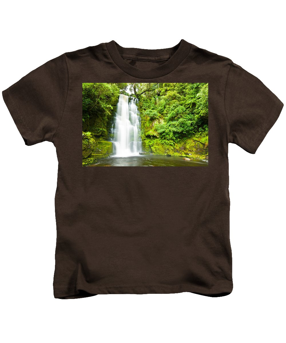 Brook Kids T-Shirt featuring the photograph Mac Lean Falls In The Catlins by U Schade