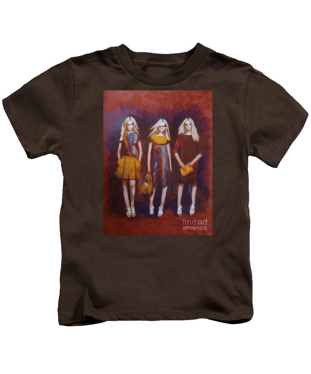 Fashion Kids T-Shirt featuring the painting On The Catwalk by Phyllis Howard