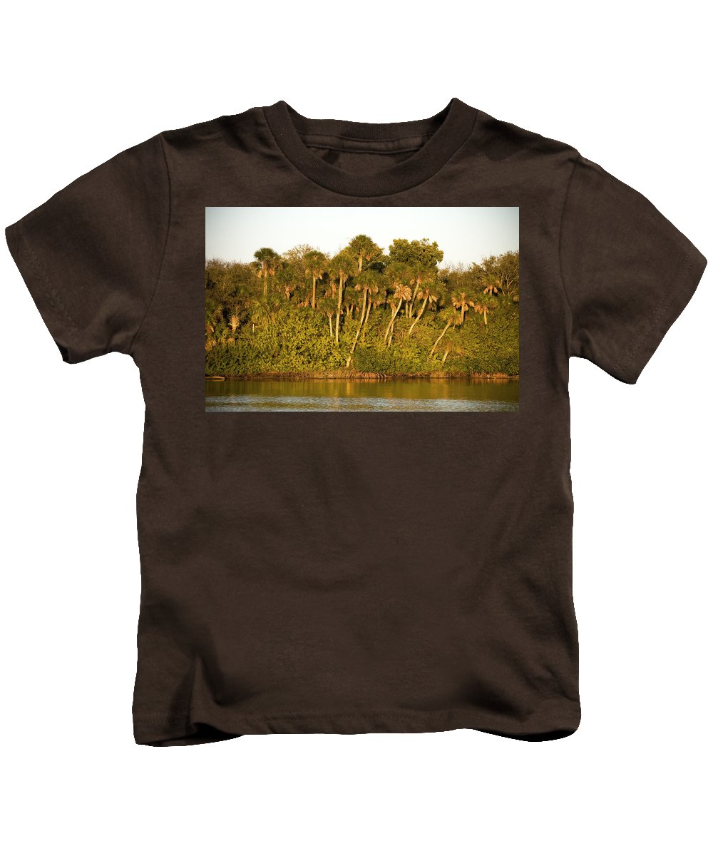 Sunset Kids T-Shirt featuring the photograph Sunset Palm Trees by Rich Franco