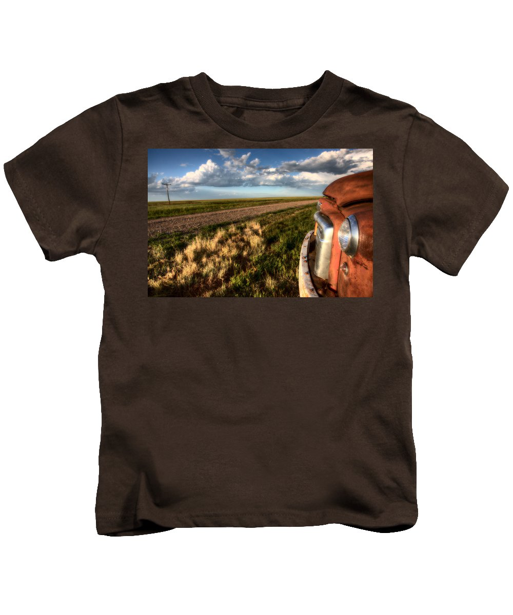 Old Kids T-Shirt featuring the digital art Vintage Farm Trucks by Mark Duffy