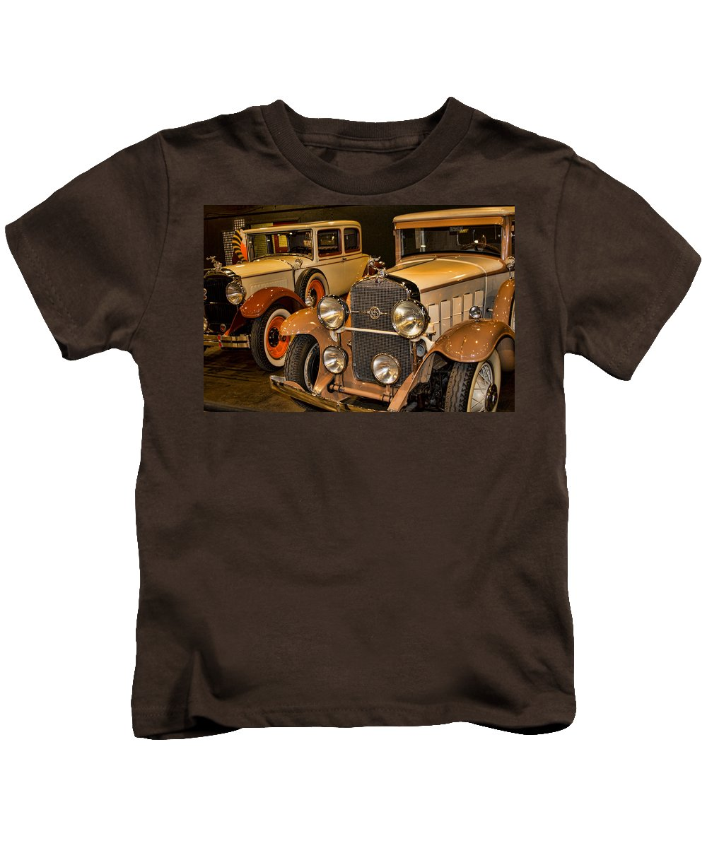 1931 La Salle Series 345r Kids T-Shirt featuring the photograph 1931 La Salle Series 345r And 1929 Packard Roadster by Douglas Barnard