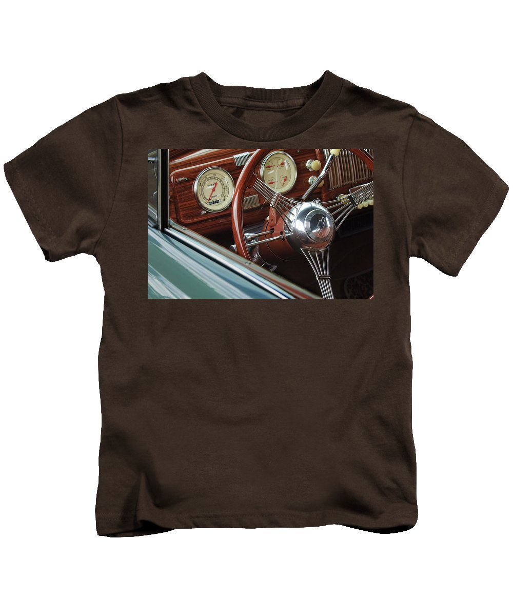 1940 Chevrolet Kids T-Shirt featuring the photograph 1940 Chevrolet Steering Wheel by Jill Reger