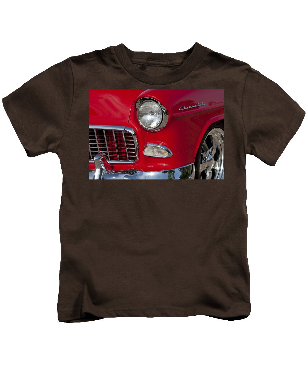 1955 Chevrolet 210 Kids T-Shirt featuring the photograph 1955 Chevrolet 210 Front End by Jill Reger