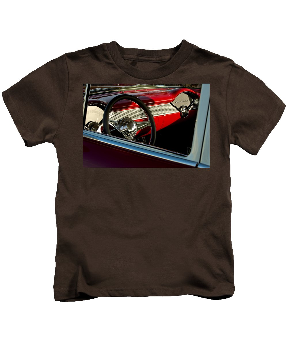 1955 Chevrolet 210 Kids T-Shirt featuring the photograph 1955 Chevrolet 210 Steering Wheel by Jill Reger