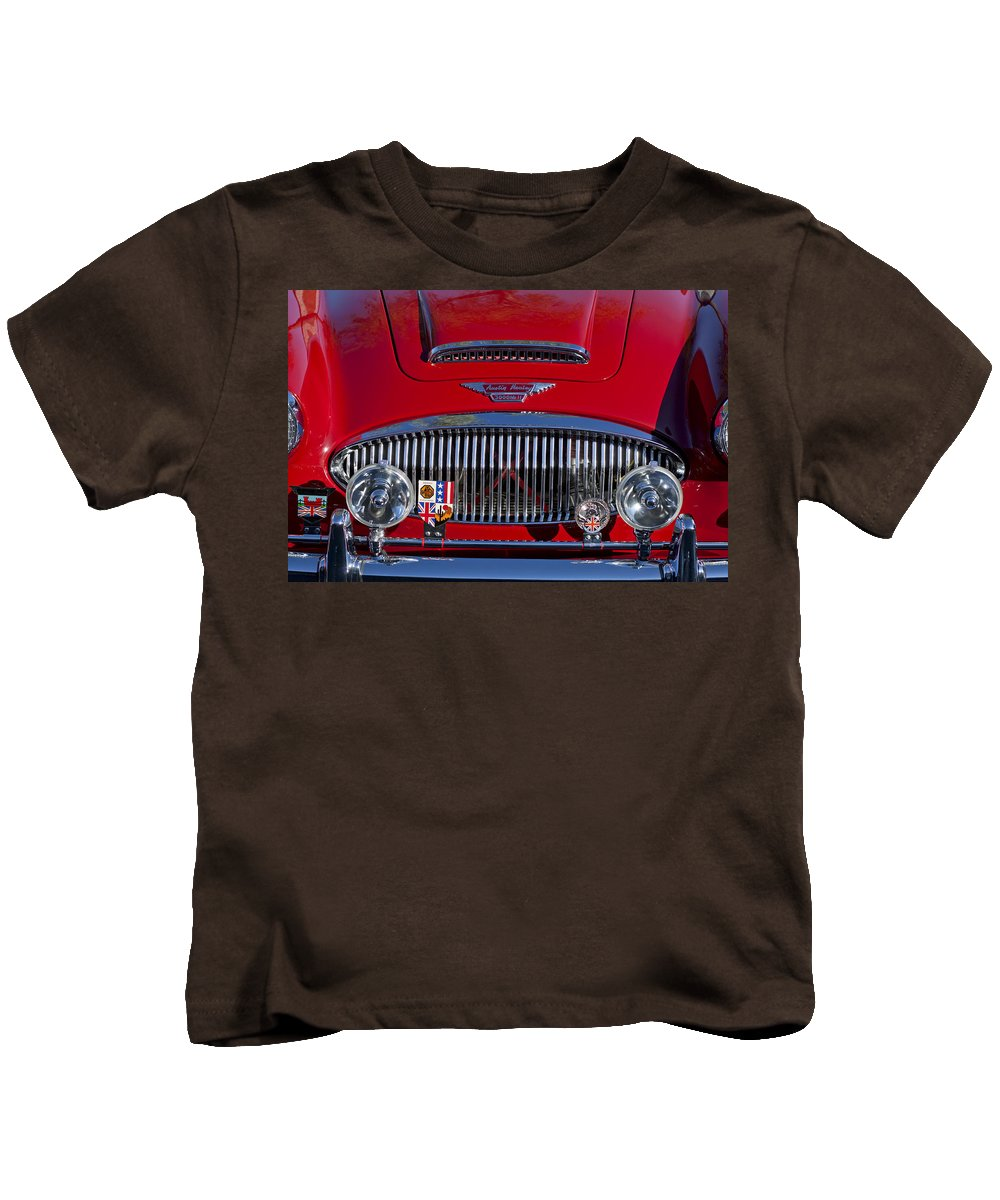 1962 Austin-healey 3000 Mkii Kids T-Shirt featuring the photograph 1962 Austin-healey 3000 Mkii Grille by Jill Reger