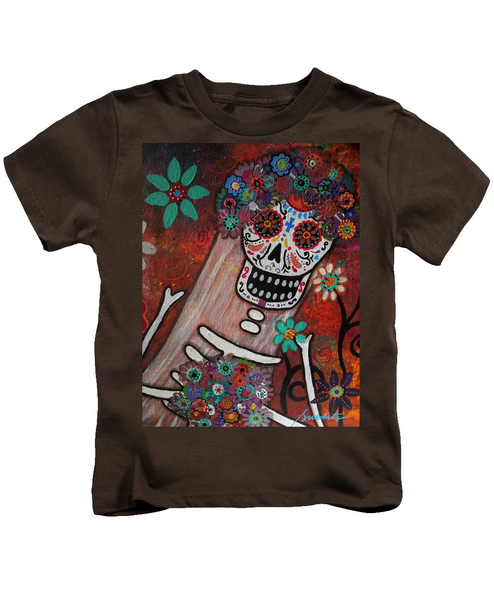 Bride Kids T-Shirt featuring the painting day of the dead BRIDE by Pristine Cartera Turkus
