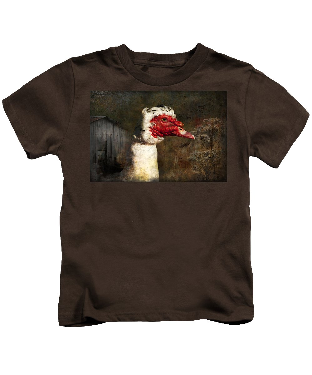 Muscovie Kids T-Shirt featuring the photograph A Little Bit Of Country Grunge by Kathy Clark