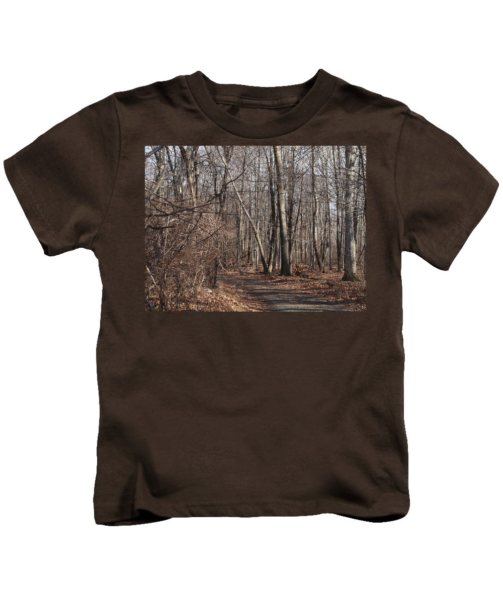 Farm Photographs Kids T-Shirt featuring the photograph A Walk In The Woods by Robert Margetts