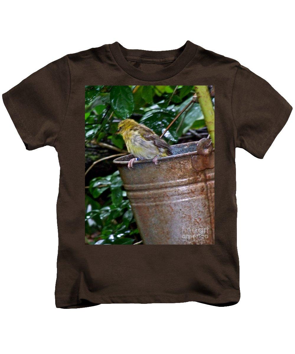 Bird Kids T-Shirt featuring the photograph After The Bath by Carol Bradley