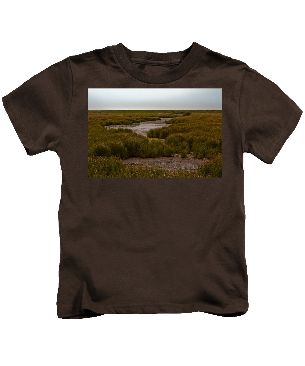 All Hallows On Sea Kids T-Shirt featuring the photograph All Hallows Marshes by Dawn OConnor