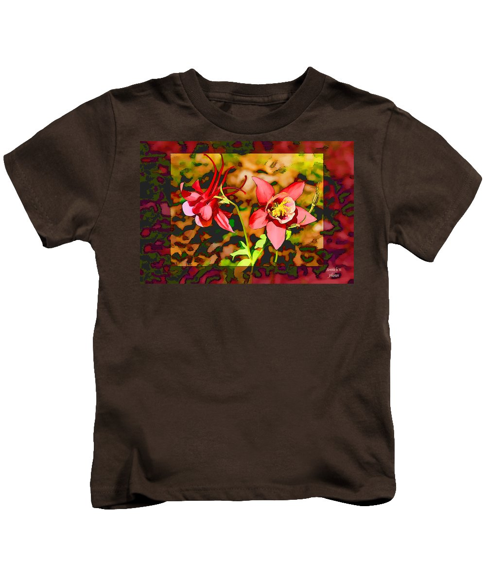 Aquilegia Kids T-Shirt featuring the photograph Aqualigia Sunlit by Bonnie Willis