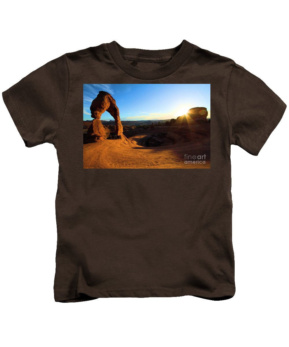 Delicate Arch Kids T-Shirt featuring the photograph Arches Starburst by Adam Jewell