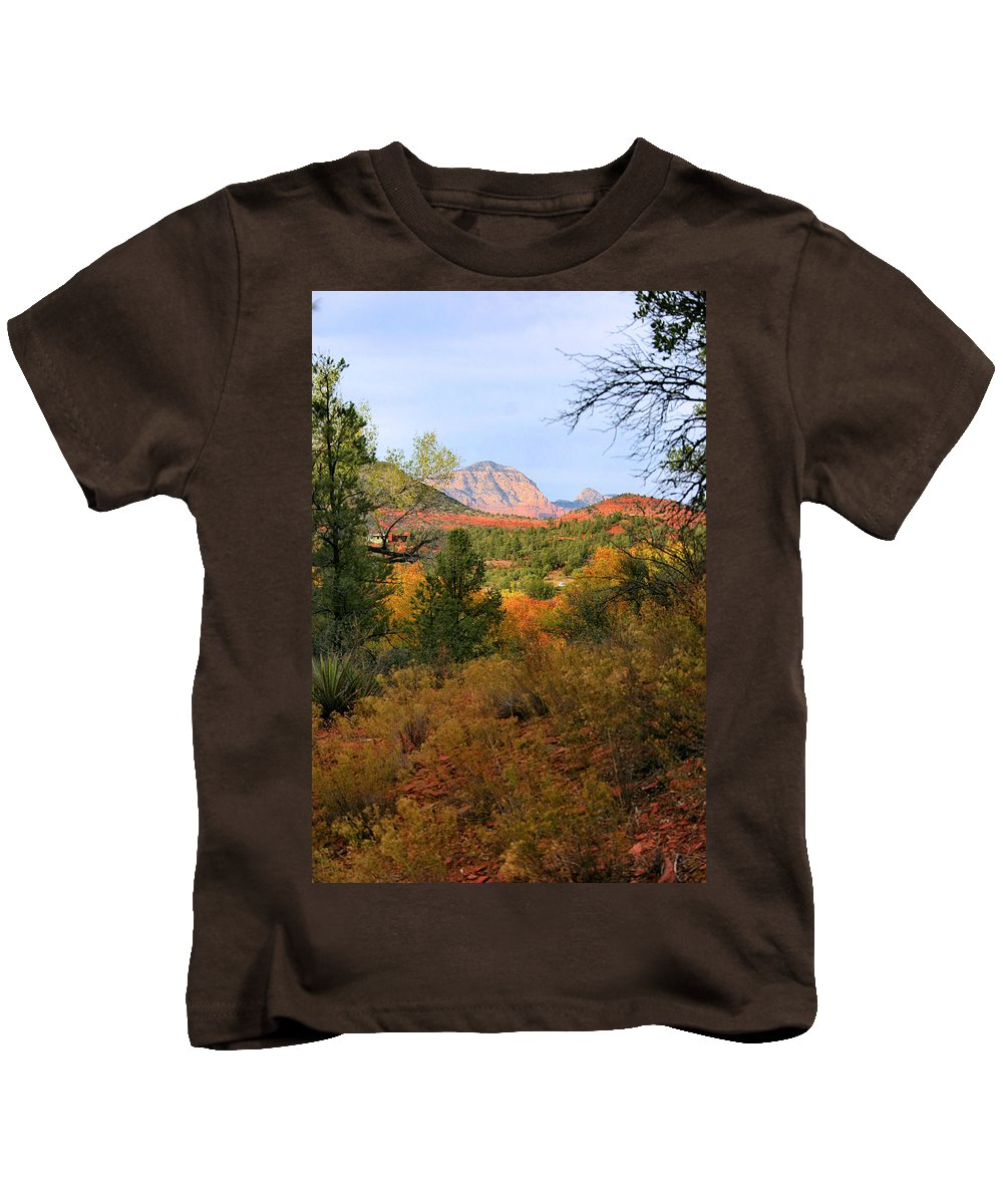 Red Rock Kids T-Shirt featuring the photograph Autumn In Red Rock Canyon by Kristin Elmquist