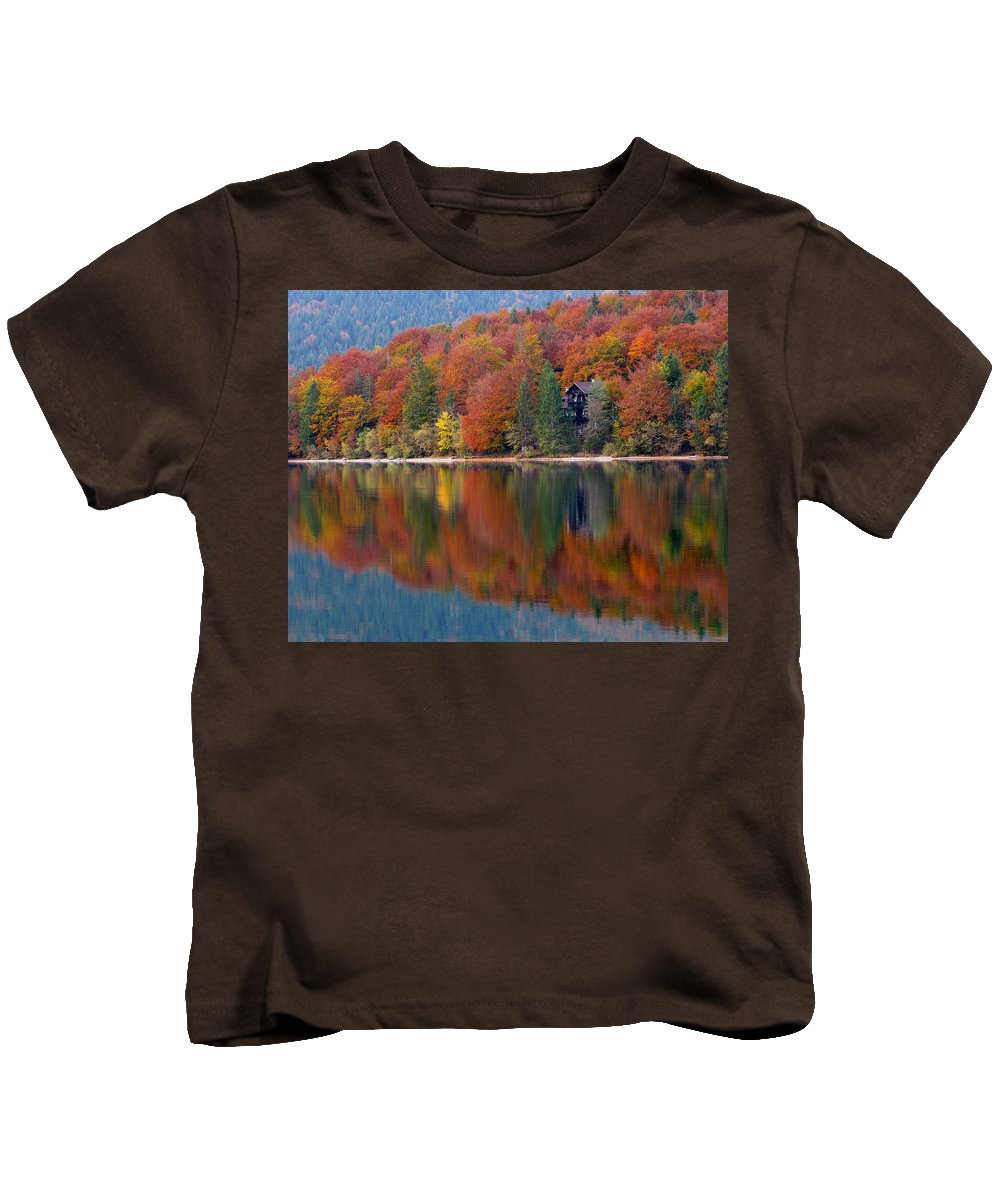Lake Bohinj Kids T-Shirt featuring the photograph Autumn Reflections On Lake Bohinj In Slovenia by Greg Matchick