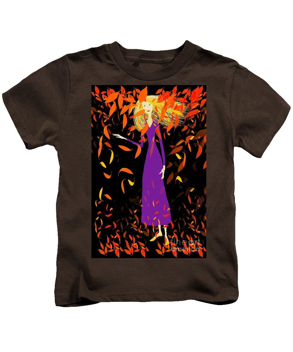 Woman Kids T-Shirt featuring the digital art Autumn Spirit by Barbara Moignard
