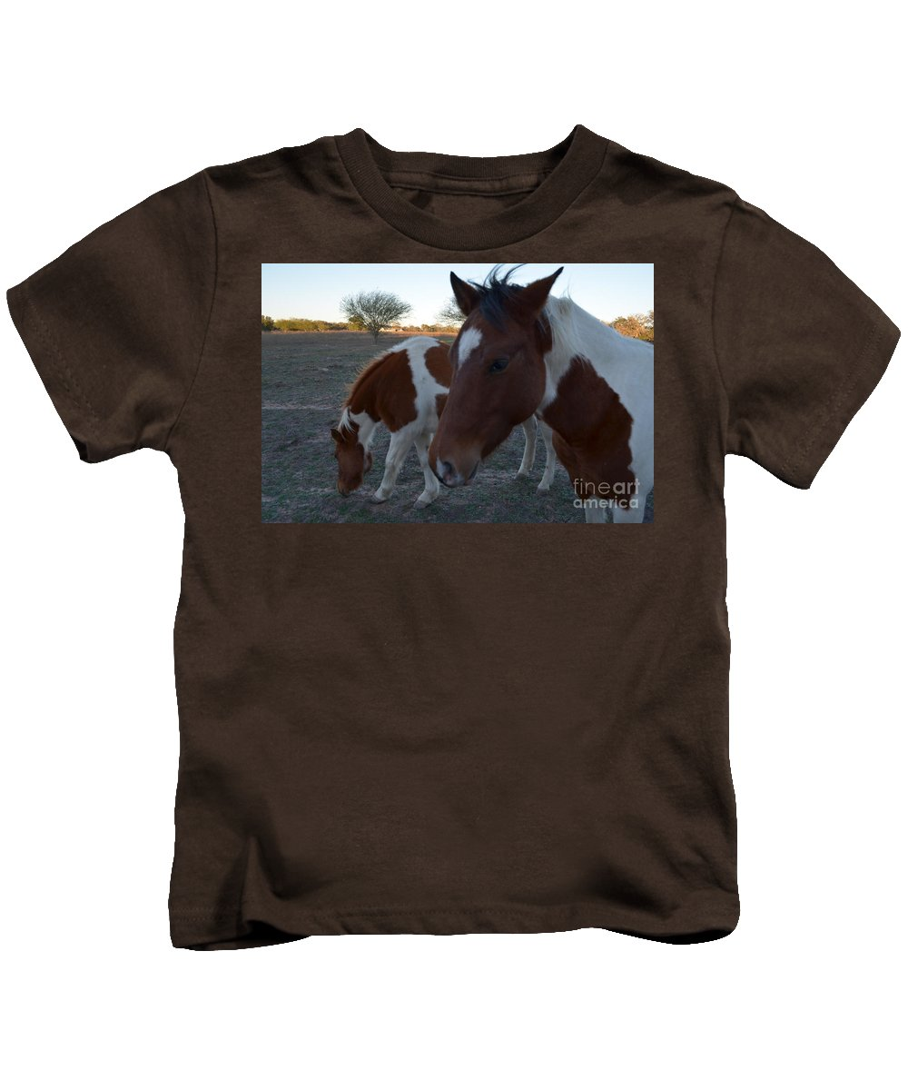 Animal Kids T-Shirt featuring the photograph Baby And Mom by Donna Brown